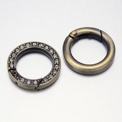 1 Ring-Verschluss Ø 224x4 mm - antik-bronzefarben mit Strasssteinen