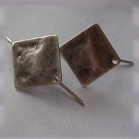 1 Paar Ohrhaken - antik silberfarben mit Platte