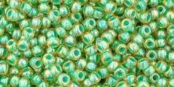 10 g TOHO Seed Beads 11/0 TR-11-1830 - Inside-Color Rainbow Lt Jonquil/Mint Lined (E)