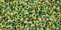 10 g TOHO Seed Beads 11/0 TR-11-1829 - Inside-Color Rainbow Jonquil/Forrest Green Lined (E)