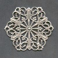 #08 1 Stück filigranes Metall Ø 27 mm antik-silberfarben