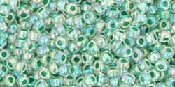 10 g TOHO Seed Beads 11/0 TR-11-0699 - Inside-Color Rainbow Crystal/Shamrock Lined (E)