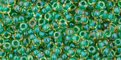 10 g TOHO Seed Beads 11/0 TR-11-0242 - Inside-Color Luster Jonquil/Emerald Lined (E)