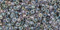 10 g TOHO Seed Beads 11/0 TR-11-0266 - Inside-Color Gold Luster Crystal/ Opaque Gray (E)