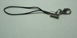 1 Stück Handykordel mit Biegering & Karabiner - schwarz