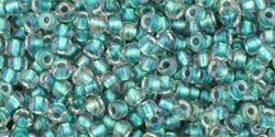 10 g TOHO Seed Beads 11/0 TR-11-0264 - Inside-Color Rainbow Crystal/Teal Lined (E)