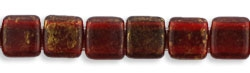 50 Stück Two-Hole Flat Square 6mm - Gold Marblet Ruby