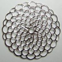 #12a 1 Stück filigranes Metall Ø 41 mm silber-gewölbt