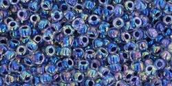 10 g TOHO Seed Beads 11/0 TR-11-0774 - Inside-Color Rainbow Crystal/Grape Lined (E)