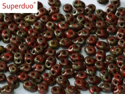 #48 10g SuperDuo-Beads opak red dk travertin