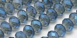 95 facetierte Rondelle 2*3mm Black Diamond Blue-AB-galv.