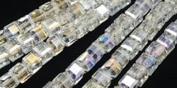 25 facetierte Würfel 6*6mm crystal AB-galvanisiert