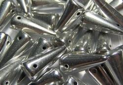 #25 - 10 Stck. Spike-Bead 7x17mm - silver metallic