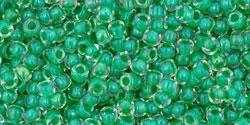10 g TOHO Seed Beads 11/0 TR-11-0187 - Inside-Color Crystal/Shamrock Lined (E)