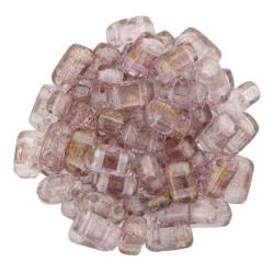 #22 - 50 Stück Two-Hole Bricks 3x6mm - crystal topaz/pink luster