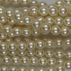 #17 1 Strang - 6,0 mm Glaswachsperlen - old lace