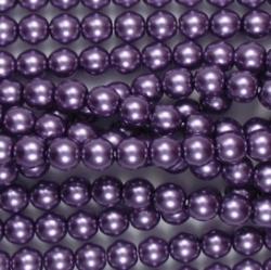 #21 1 Strang - 6,0 mm Glaswachsperlen - purple