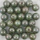 #24 25 Stück Perlen rund - Ø 8mm opak chalk white lazure blue