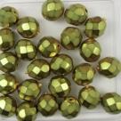 #05.0 25 Stück - 8,0 mm Glasschliffperlen - lt olive met. wax