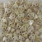 #18 10g Triangle-Beads 6mm - opaque white luster picasso