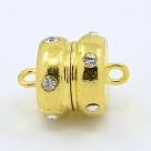 1 Magnet-Verschluss Ø 19.5x14mm gold mit Strass