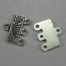 1 Paar Verteiler 12x7mm - antik silber - 3 Ösen