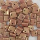 50 Stück Squarelet 6x6 mm op. beige goldluster