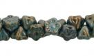 #06.05 50 Stück Button Flower 7 mm bronze picasso-baby blue