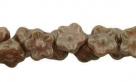 #06.07 50 Stück Button Flower 7 mm marblet gold-carmel pink