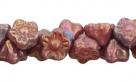 #06.16 50 Stück Button Flower 7 mm bronze vega-opaque pink
