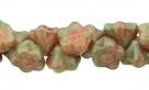 #06.17 50 Stück Button Flower 7 mm green picasso-honeysuckle