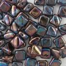 25 Stück Two-Hole Silky Beads 6mm - jet vega iris