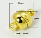 1 Kugel-Magnet-Verschluss Ø 11x7 mm Gold