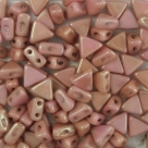 #16 - 50 Stück Kheops Beads 6mm - White Red Luster