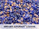#015a 10g SuperDuo-Beads sapphire semi bronze luster