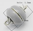 1 Kugel-Magnet-Verschluss Ø 13x18 mm  grau emailliert