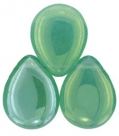 #01 - 1 Glastropfen 12x16mm Luster Iris - Milky Peridot