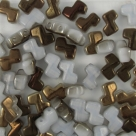 #17.0 - 25 Stück Two-Hole ZET Beads 5x6mm - alabaster half bronz