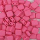 50 Stück Two-Hole Flat Square 6mm - alabaster pastel matt pink r