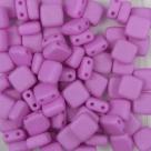 50 Stück Two-Hole Flat Square 6mm - alabaster pastel matt pink v