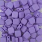 50 Stück Two-Hole Flat Square 6mm - alabaster pastel matt lila