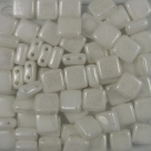 50 Stück Two-Hole Flat Square 6mm - alabaster hematite coating
