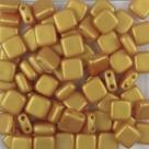 50 Stück Two-Hole Flat Square 6mm - Alabaster Pastel GoldShine Yellow