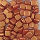 50 Stück Two-Hole Flat Square 6mm - Alabaster Pastel GoldShine R