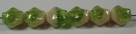 #01.04 - 25 Stück Diamond Beads 9x8mm - opak cream/tr. green