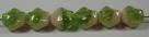 #01.04 - 25 Stück Diamond Beads 9x8mm - opak cream/tr. green