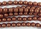#39.0 1 Strang - 6,0 mm Glaswachsperlen - copper