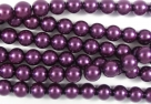 #41.0 1 Strang - 6,0 mm Glaswachsperlen - purple