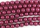 #42.0 1 Strang - 6,0 mm Glaswachsperlen - dark magenta