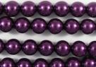 #25.0 1 Strang - 8,0 mm Glaswachsperlen - purple